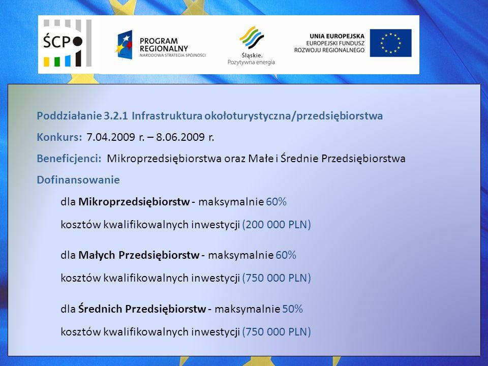 Poddziałanie 3.2.1 Infrastruktura okołoturystyczna/przedsiębiorstwa Konkurs: 7.04.2009 r.