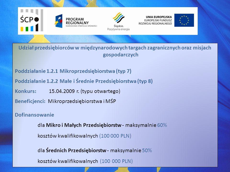 Udział przedsiębiorców w międzynarodowych targach zagranicznych oraz misjach gospodarczych Poddziałanie 1.2.1 Mikroprzedsiębiorstwa (typ 7) Poddziałanie 1.2.2 Małe i Średnie Przedsiębiorstwa (typ 8) Konkurs:15.04.2009 r.