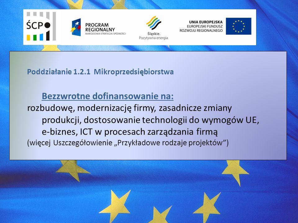 Poddziałanie 1.2.1 Mikroprzedsiębiorstwa Bezzwrotne dofinansowanie na: rozbudowę, modernizację firmy, zasadnicze zmiany produkcji, dostosowanie technologii do wymogów UE, e-biznes, ICT w procesach zarządzania firmą (więcej Uszczegółowienie Przykładowe rodzaje projektów)