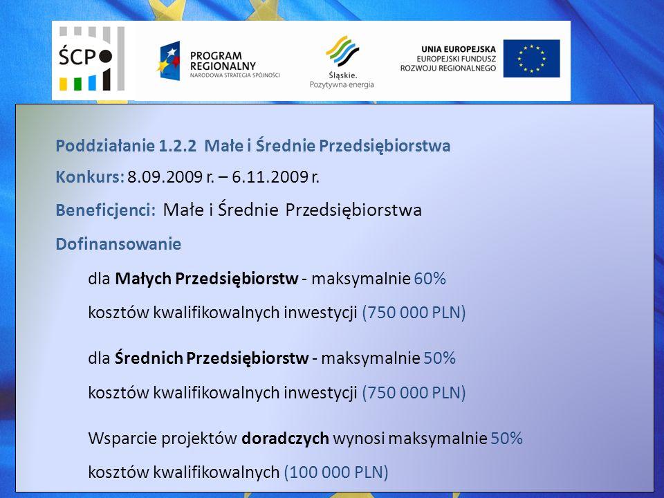 Poddziałanie 1.2.2 Małe i Średnie Przedsiębiorstwa Konkurs: 8.09.2009 r.
