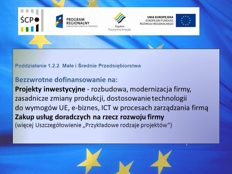 Poddziałanie 1.2.2 Małe i Średnie Przedsiębiorstwa Bezzwrotne dofinansowanie na: Projekty inwestycyjne - rozbudowa, modernizacja firmy, zasadnicze zmiany produkcji, dostosowanie technologii do wymogów UE, e-biznes, ICT w procesach zarządzania firmą Zakup usług doradczych na rzecz rozwoju firmy (więcej Uszczegółowienie Przykładowe rodzaje projektów)