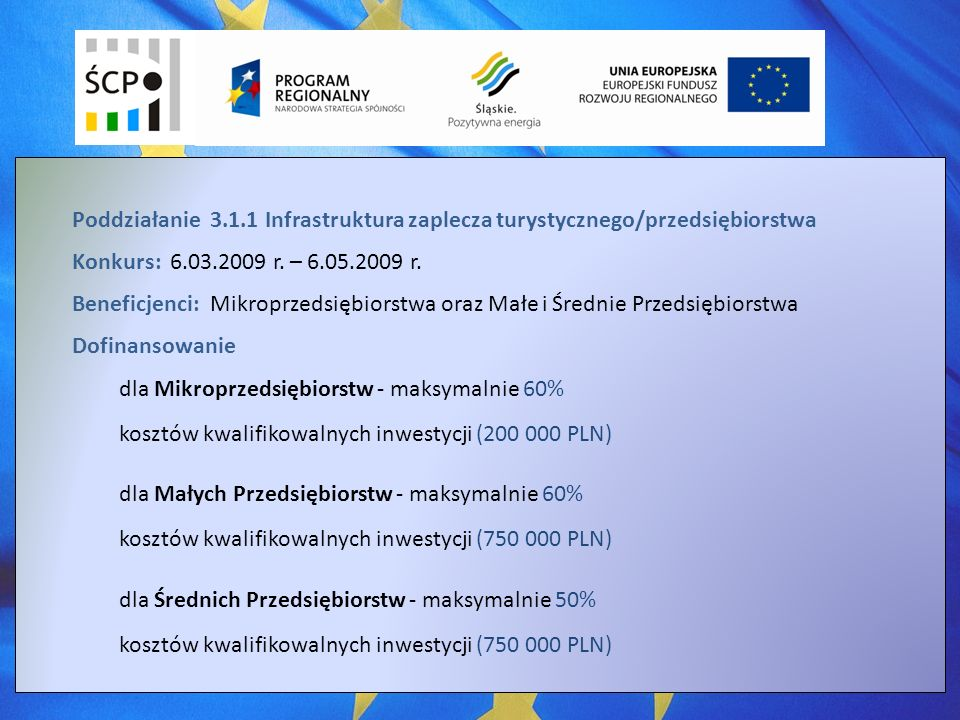 Poddziałanie 3.1.1 Infrastruktura zaplecza turystycznego/przedsiębiorstwa Konkurs: 6.03.2009 r.