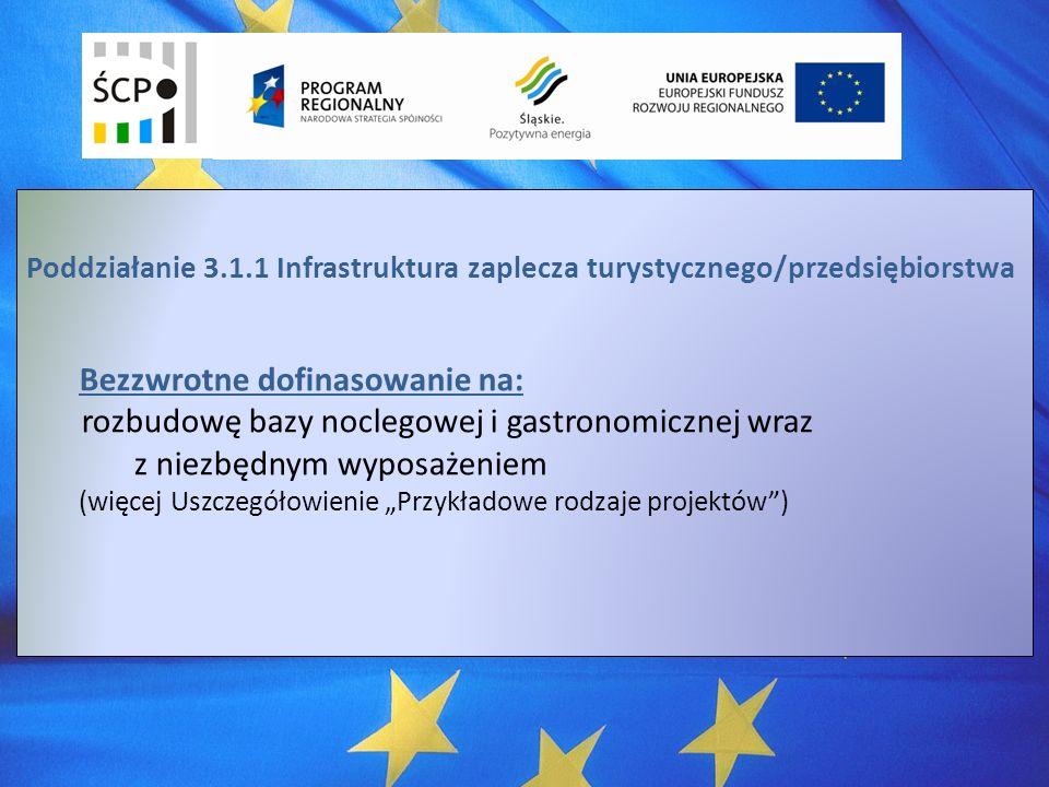 Poddziałanie 3.1.1 Infrastruktura zaplecza turystycznego/przedsiębiorstwa Bezzwrotne dofinasowanie na: rozbudowę bazy noclegowej i gastronomicznej wraz z niezbędnym wyposażeniem (więcej Uszczegółowienie Przykładowe rodzaje projektów)