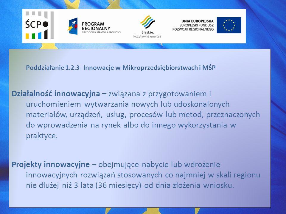 Poddziałanie 1.2.3 Innowacje w Mikroprzedsiębiorstwach i MŚP Działalność innowacyjna – związana z przygotowaniem i uruchomieniem wytwarzania nowych lub udoskonalonych materiałów, urządzeń, usług, procesów lub metod, przeznaczonych do wprowadzenia na rynek albo do innego wykorzystania w praktyce.