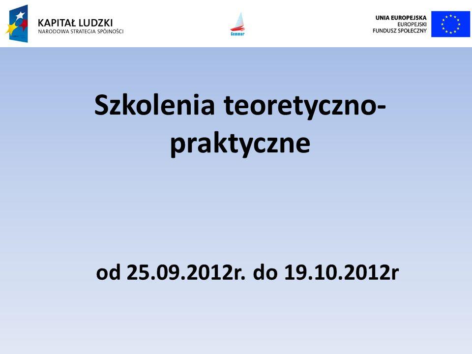 Szkolenia teoretyczno- praktyczne od 25.09.2012r. do 19.10.2012r