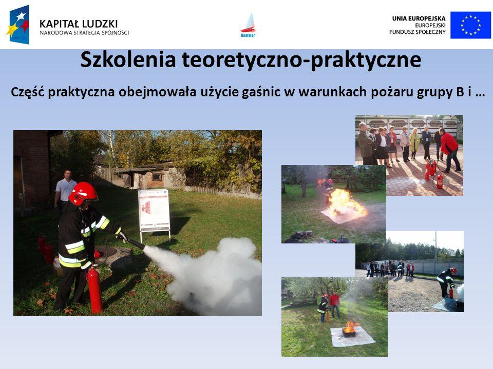 Szkolenia teoretyczno-praktyczne Część praktyczna obejmowała użycie gaśnic w warunkach pożaru grupy B i …