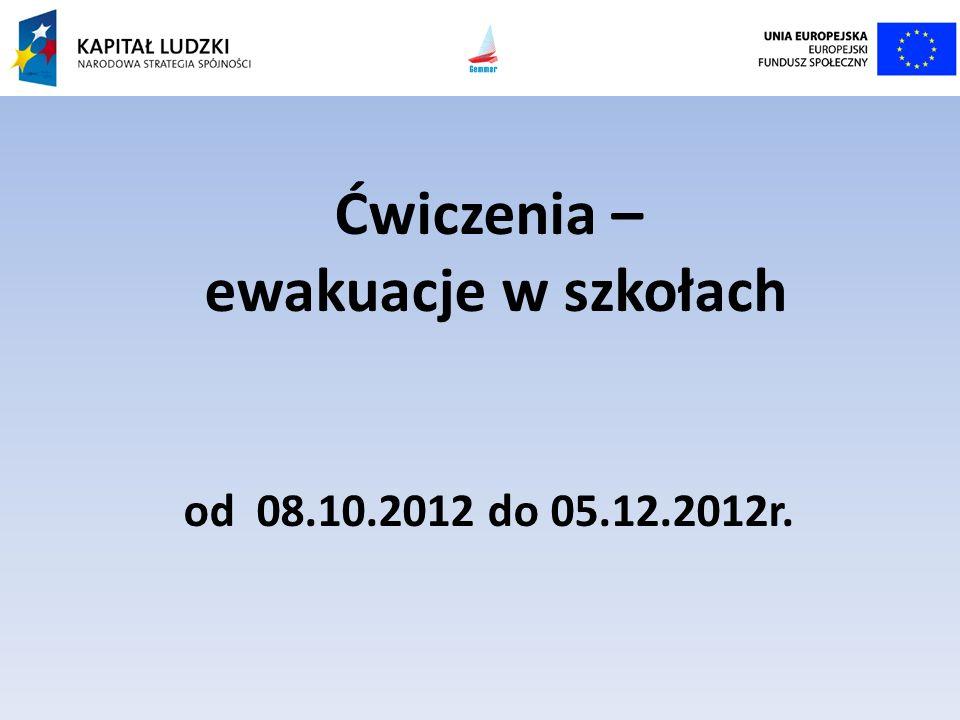 Ćwiczenia – ewakuacje w szkołach od 08.10.2012 do 05.12.2012r.