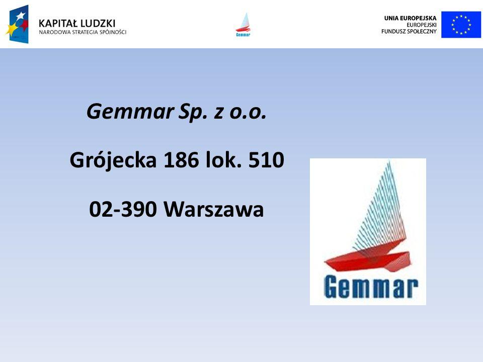 Gemmar Sp. z o.o. Grójecka 186 lok. 510 02-390 Warszawa