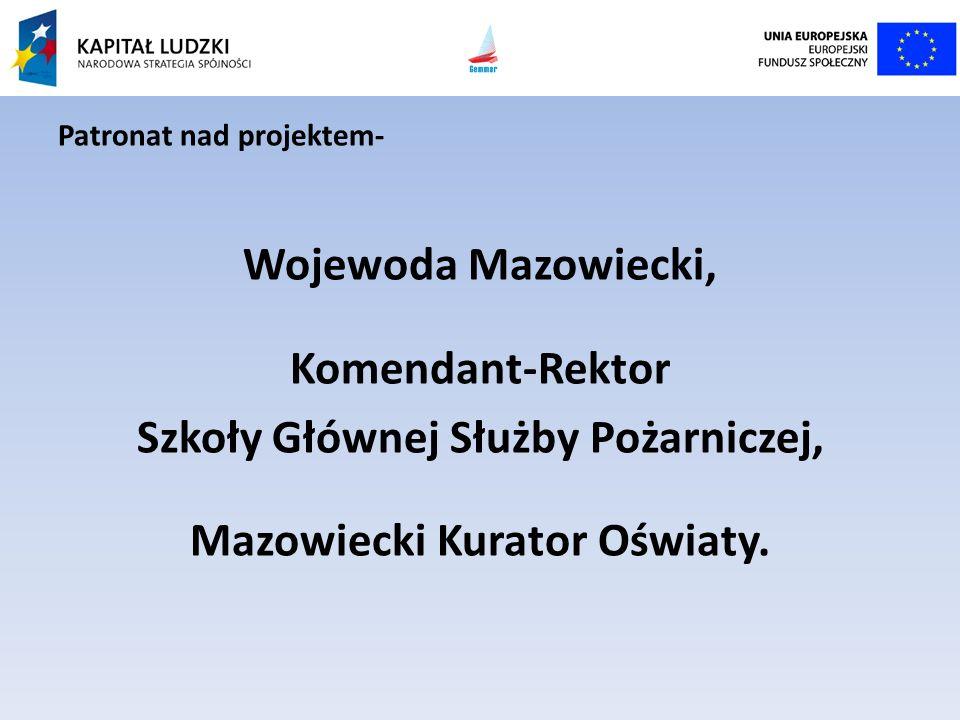 Patronat nad projektem- Wojewoda Mazowiecki, Komendant-Rektor Szkoły Głównej Służby Pożarniczej, Mazowiecki Kurator Oświaty.