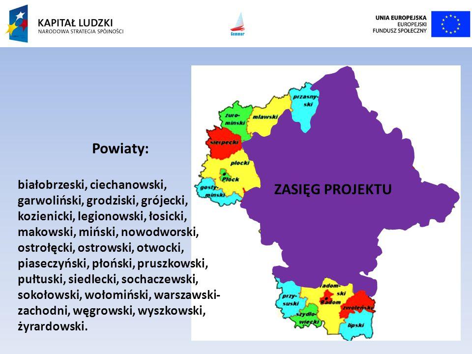 ZASIĘG PROJEKTU Powiaty: białobrzeski, ciechanowski, garwoliński, grodziski, grójecki, kozienicki, legionowski, łosicki, makowski, miński, nowodworski