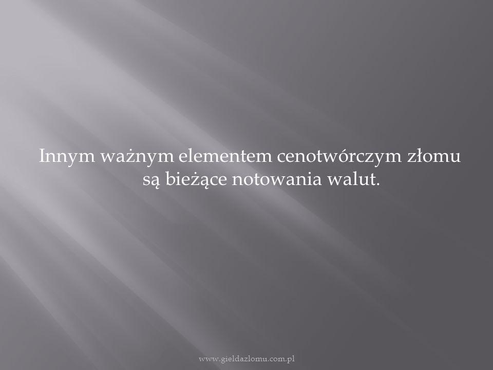 Innym ważnym elementem cenotwórczym złomu są bieżące notowania walut. www.gieldazlomu.com.pl