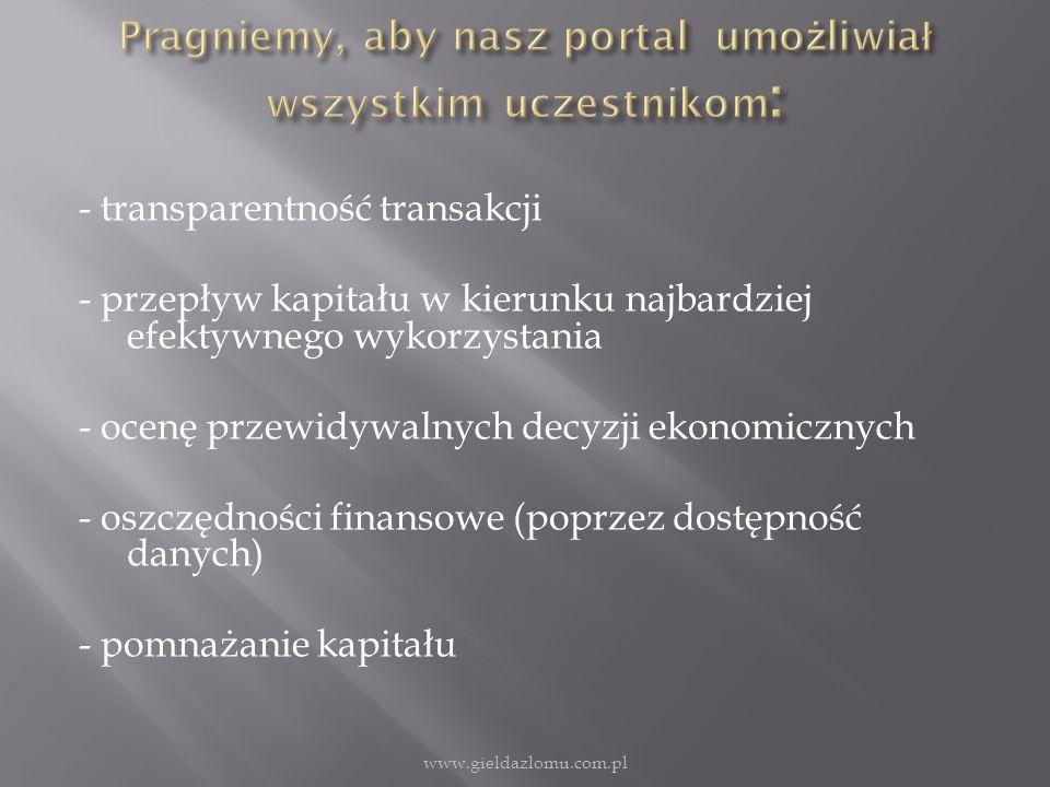 - transparentność transakcji - przepływ kapitału w kierunku najbardziej efektywnego wykorzystania - ocenę przewidywalnych decyzji ekonomicznych - oszczędności finansowe (poprzez dostępność danych) - pomnażanie kapitału www.gieldazlomu.com.pl