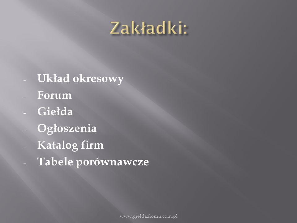 - Układ okresowy - Forum - Giełda - Ogłoszenia - Katalog firm - Tabele porównawcze www.gieldazlomu.com.pl