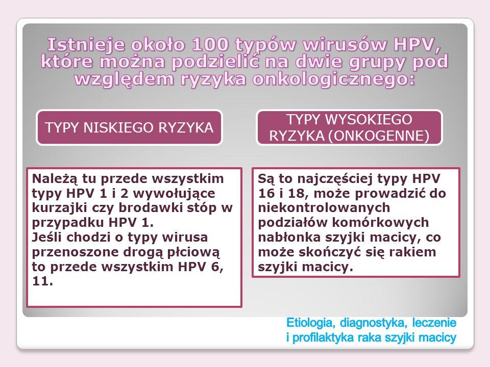 TYPY NISKIEGO RYZYKA TYPY WYSOKIEGO RYZYKA (ONKOGENNE) Należą tu przede wszystkim typy HPV 1 i 2 wywołujące kurzajki czy brodawki stóp w przypadku HPV