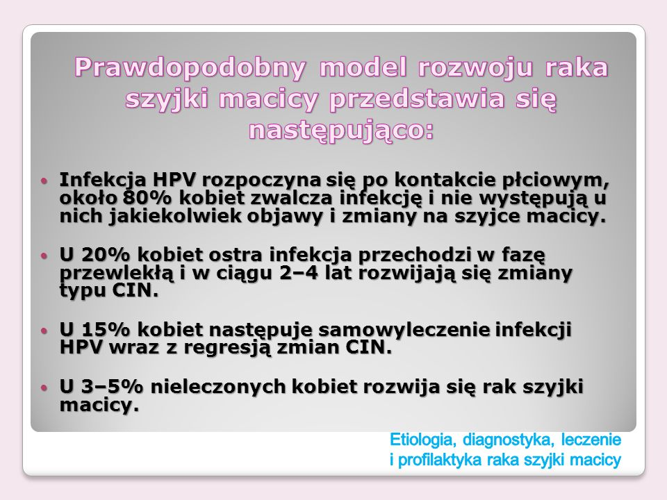 Infekcja HPV rozpoczyna się po kontakcie płciowym, około 80% kobiet zwalcza infekcję i nie występują u nich jakiekolwiek objawy i zmiany na szyjce mac