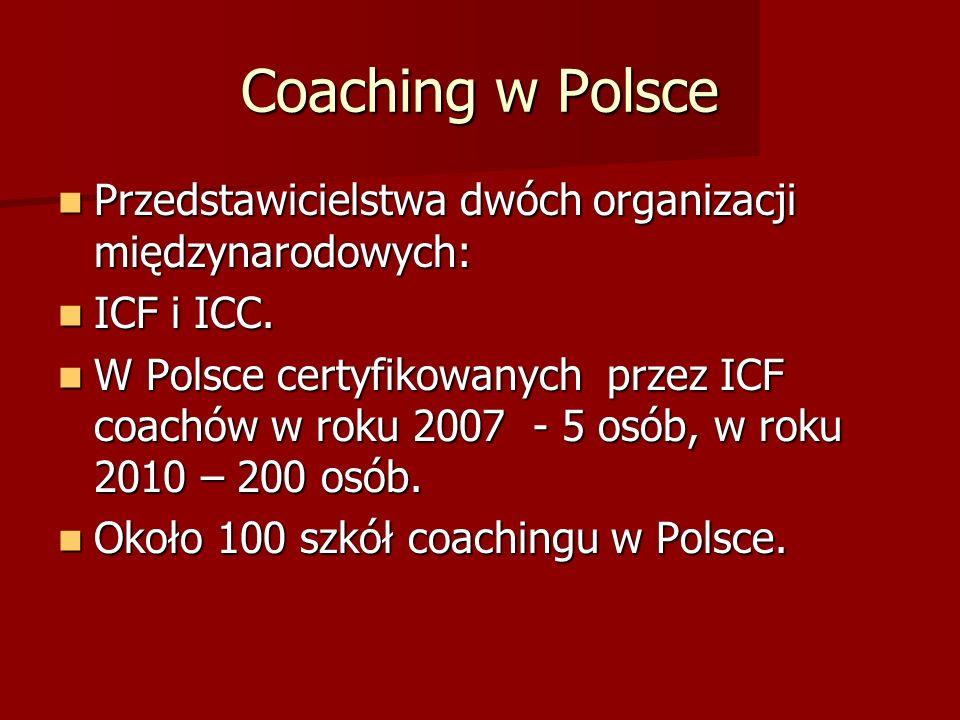 Coaching w Polsce Przedstawicielstwa dwóch organizacji międzynarodowych: Przedstawicielstwa dwóch organizacji międzynarodowych: ICF i ICC.
