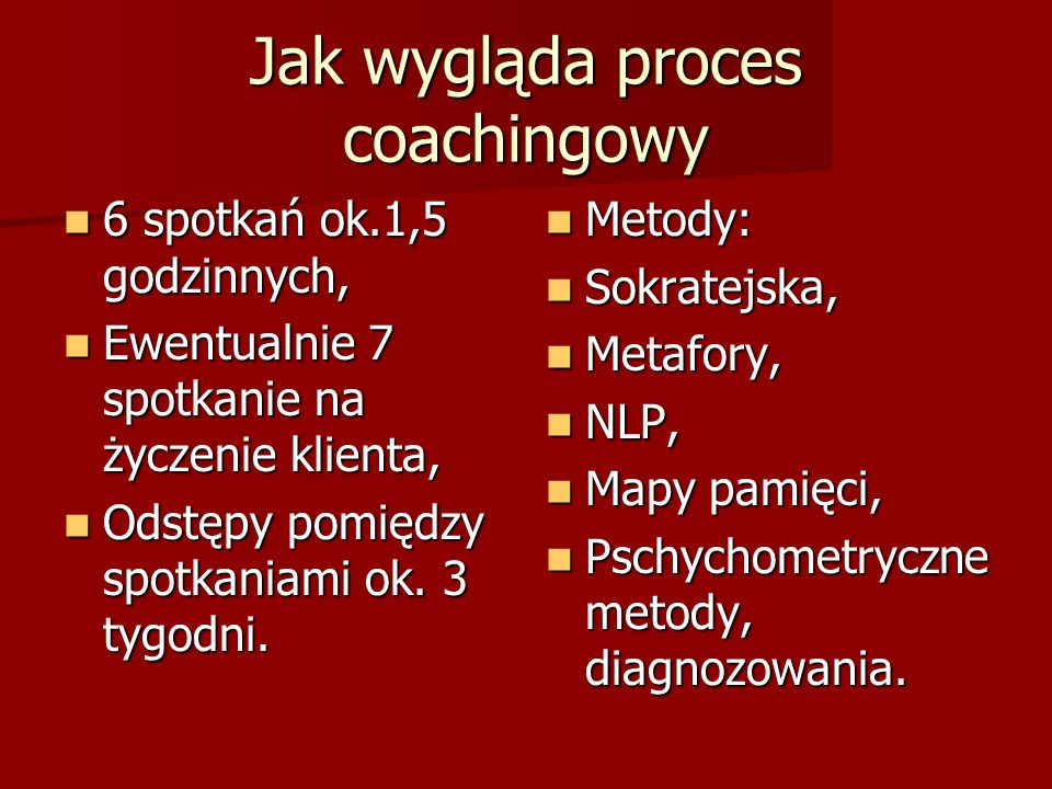 Jak wygląda proces coachingowy 6 spotkań ok.1,5 godzinnych, 6 spotkań ok.1,5 godzinnych, Ewentualnie 7 spotkanie na życzenie klienta, Ewentualnie 7 spotkanie na życzenie klienta, Odstępy pomiędzy spotkaniami ok.