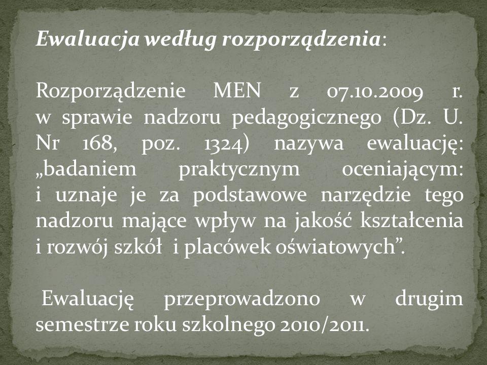 Ewaluacja według rozporządzenia: Rozporządzenie MEN z 07.10.2009 r.