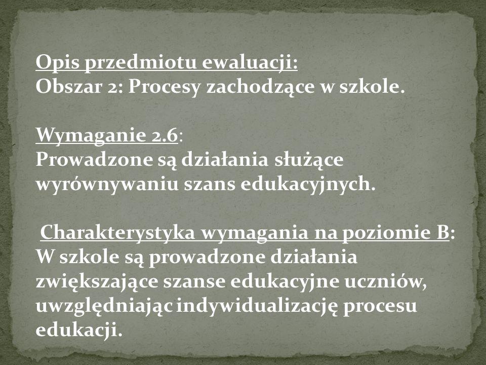 Opis przedmiotu ewaluacji: Obszar 2: Procesy zachodzące w szkole.