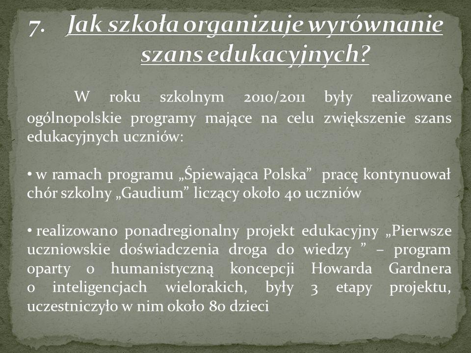 W roku szkolnym 2010/2011 były realizowane ogólnopolskie programy mające na celu zwiększenie szans edukacyjnych uczniów: w ramach programu Śpiewająca Polska pracę kontynuował chór szkolny Gaudium liczący około 40 uczniów realizowano ponadregionalny projekt edukacyjny Pierwsze uczniowskie doświadczenia droga do wiedzy – program oparty o humanistyczną koncepcji Howarda Gardnera o inteligencjach wielorakich, były 3 etapy projektu, uczestniczyło w nim około 80 dzieci