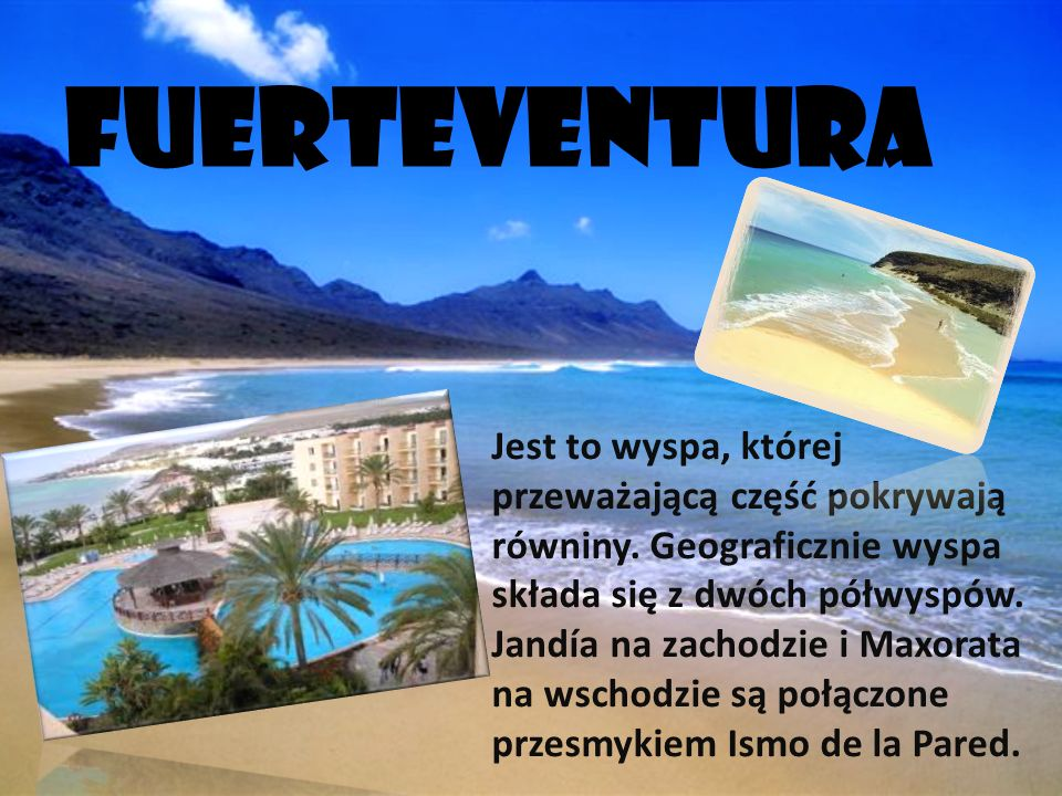 TENERYFA Największa wyspa archipelagu wysp Kanaryjskich. Olbrzymi wulkan Pico del Teide, kt ó ry jest jednocześnie najwyżej położonym punktem w Hiszpa