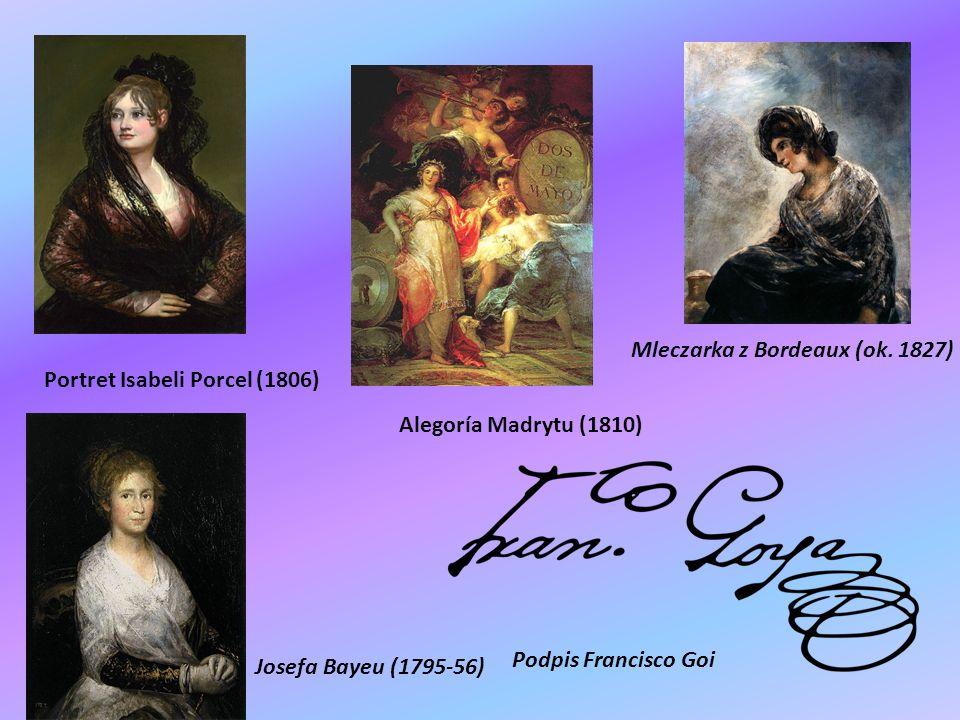 Francisco Goya Parasolka (1777) Praczki (1779-80) Portret rodziny infanta don Luisa(1784) Książę i księżna Osuna z dziećmi(1788)Rodzina Karola IV (1800)