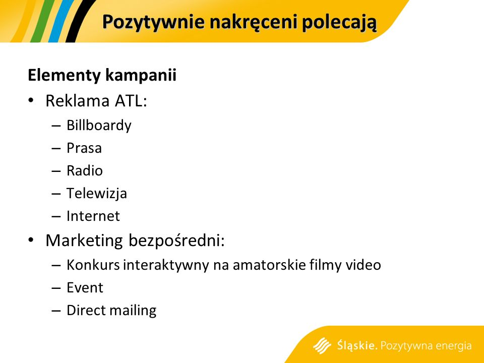 Pozytywnie nakręceni polecają Elementy kampanii Reklama ATL: – Billboardy – Prasa – Radio – Telewizja – Internet Marketing bezpośredni: – Konkurs interaktywny na amatorskie filmy video – Event – Direct mailing
