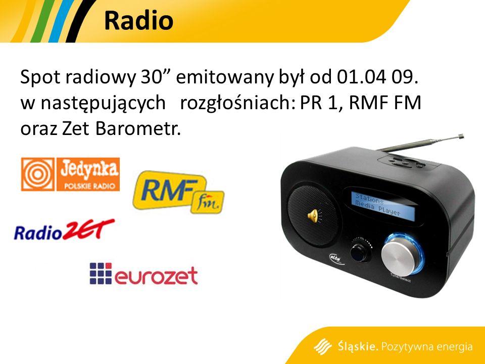 Radio Spot radiowy 30 emitowany był od 01.04 09.
