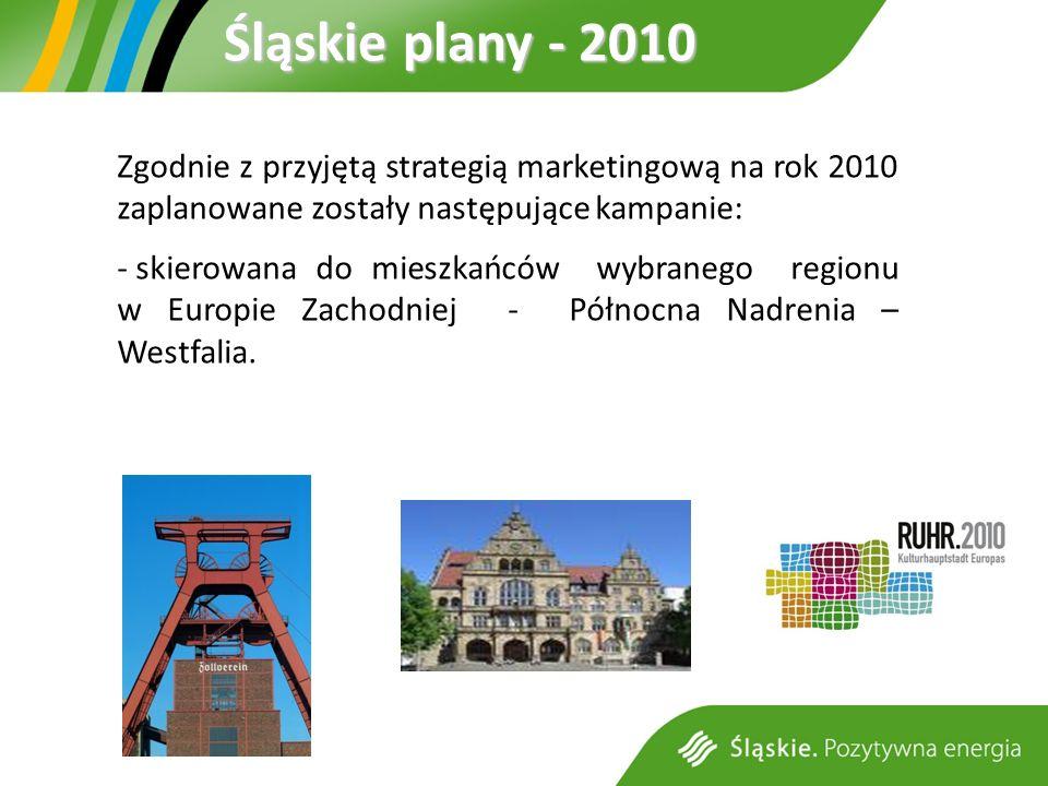 Śląskie plany - 2010 Zgodnie z przyjętą strategią marketingową na rok 2010 zaplanowane zostały następujące kampanie: - skierowana do mieszkańców wybranego regionu w Europie Zachodniej - Północna Nadrenia – Westfalia.