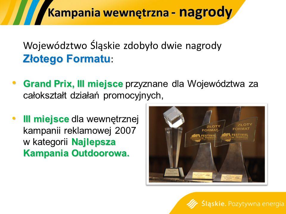 Złotego Formatu Województwo Śląskie zdobyło dwie nagrody Złotego Formatu : Grand Prix, III miejsce Grand Prix, III miejsce przyznane dla Województwa za całokształt działań promocyjnych, III miejsce Najlepsza Kampania Outdoorowa.