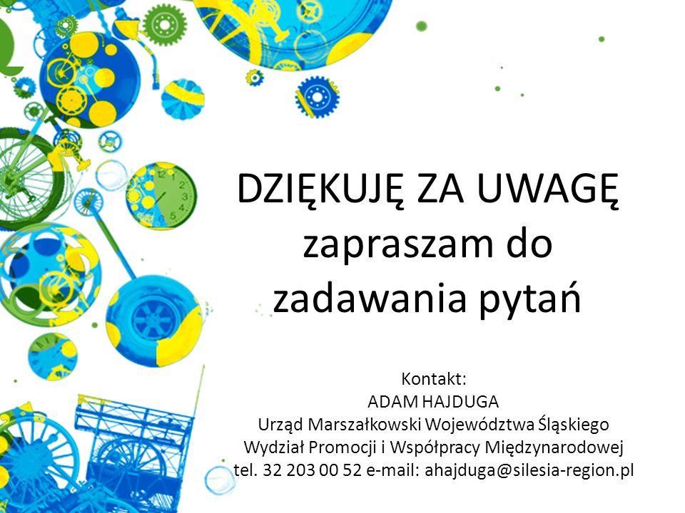 Kontakt: Tomasz Stemplewski Urząd Marszałkowski Województwa Śląskiego Wydział Promocji i Współpracy Międzynarodowej tel.