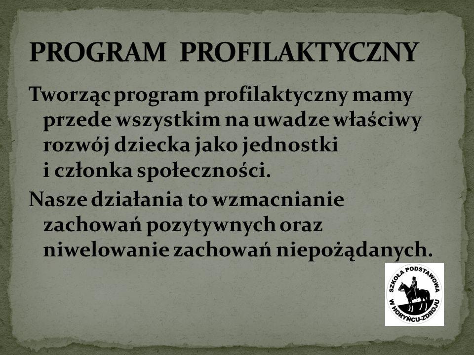 Tworząc program profilaktyczny mamy przede wszystkim na uwadze właściwy rozwój dziecka jako jednostki i członka społeczności.