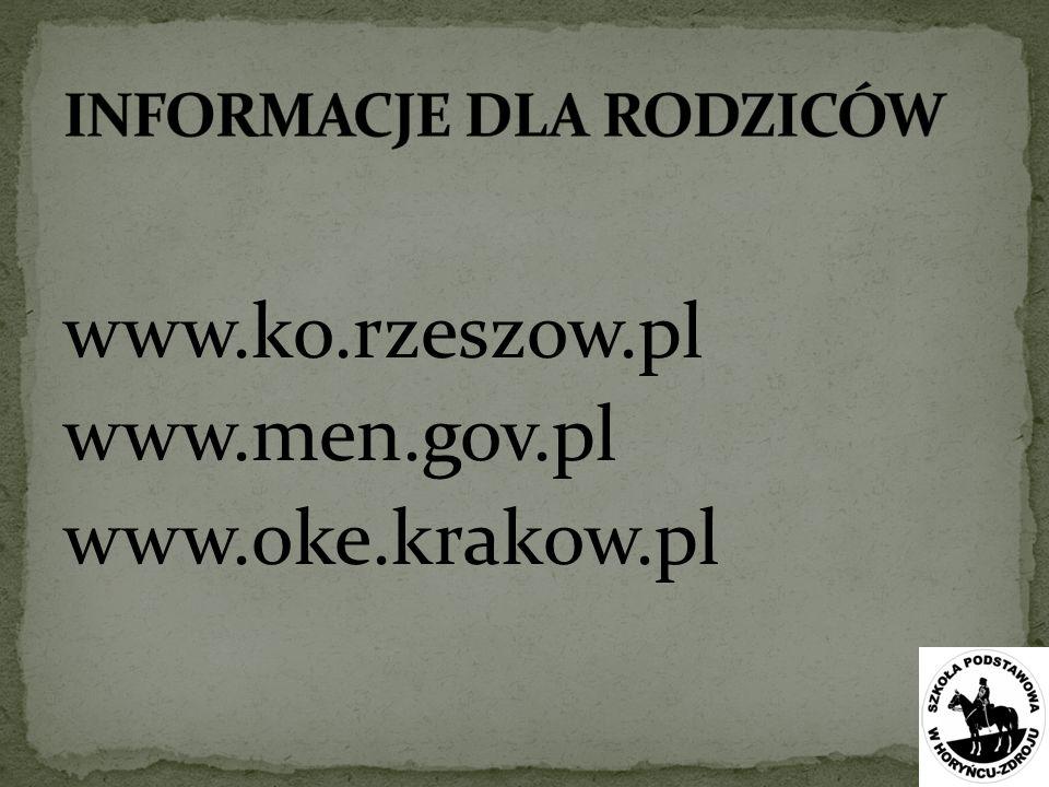 www.ko.rzeszow.pl www.men.gov.pl www.oke.krakow.pl