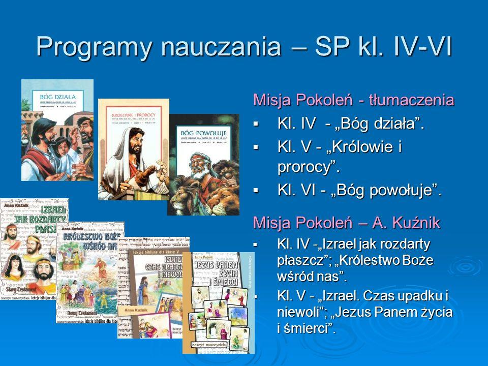 Programy nauczania – SP kl. IV-VI Misja Pokoleń - tłumaczenia Kl. IV - Bóg działa. Kl. IV - Bóg działa. Kl. V - Królowie i prorocy. Kl. V - Królowie i