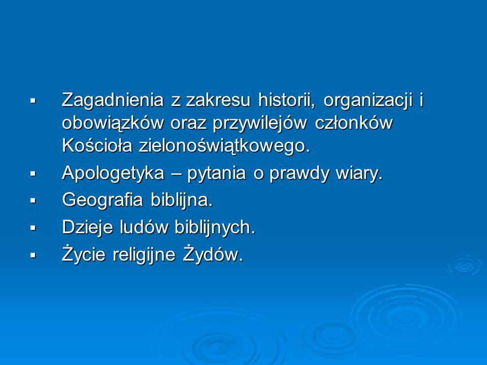 Zagadnienia z zakresu historii, organizacji i obowiązków oraz przywilejów członków Kościoła zielonoświątkowego. Zagadnienia z zakresu historii, organi