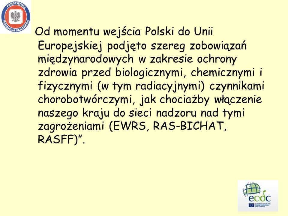 Od momentu wejścia Polski do Unii Europejskiej podjęto szereg zobowiązań międzynarodowych w zakresie ochrony zdrowia przed biologicznymi, chemicznymi i fizycznymi (w tym radiacyjnymi) czynnikami chorobotwórczymi, jak chociażby włączenie naszego kraju do sieci nadzoru nad tymi zagrożeniami (EWRS, RAS-BICHAT, RASFF).