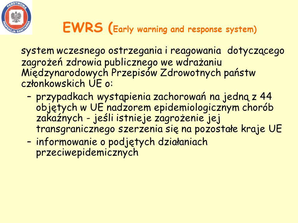 system wczesnego ostrzegania i reagowania dotyczącego zagrożeń zdrowia publicznego we wdrażaniu Międzynarodowych Przepisów Zdrowotnych państw członkowskich UE o: –przypadkach wystąpienia zachorowań na jedną z 44 objętych w UE nadzorem epidemiologicznym chorób zakaźnych - jeśli istnieje zagrożenie jej transgranicznego szerzenia się na pozostałe kraje UE –informowanie o podjętych działaniach przeciwepidemicznych EWRS ( Early warning and response system)