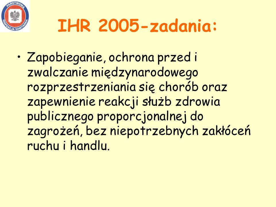 IHR 2005-zadania: Zapobieganie, ochrona przed i zwalczanie międzynarodowego rozprzestrzeniania się chorób oraz zapewnienie reakcji służb zdrowia publicznego proporcjonalnej do zagrożeń, bez niepotrzebnych zakłóceń ruchu i handlu.