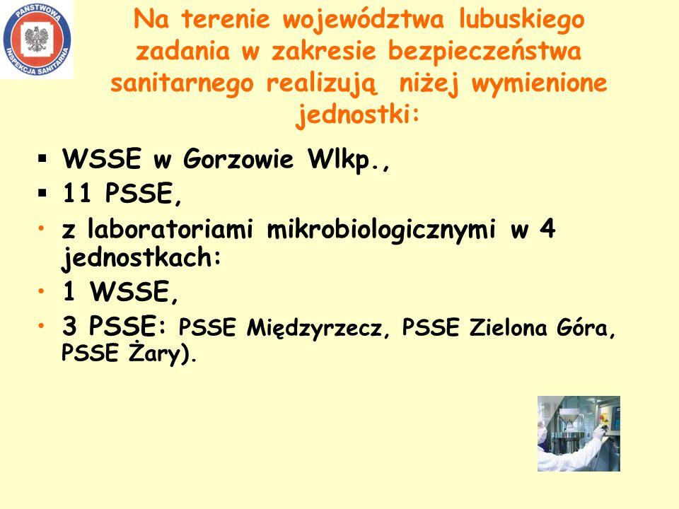 Na terenie województwa lubuskiego zadania w zakresie bezpieczeństwa sanitarnego realizują niżej wymienione jednostki: WSSE w Gorzowie Wlkp., 11 PSSE, z laboratoriami mikrobiologicznymi w 4 jednostkach: 1 WSSE, 3 PSSE: PSSE Międzyrzecz, PSSE Zielona Góra, PSSE Żary).