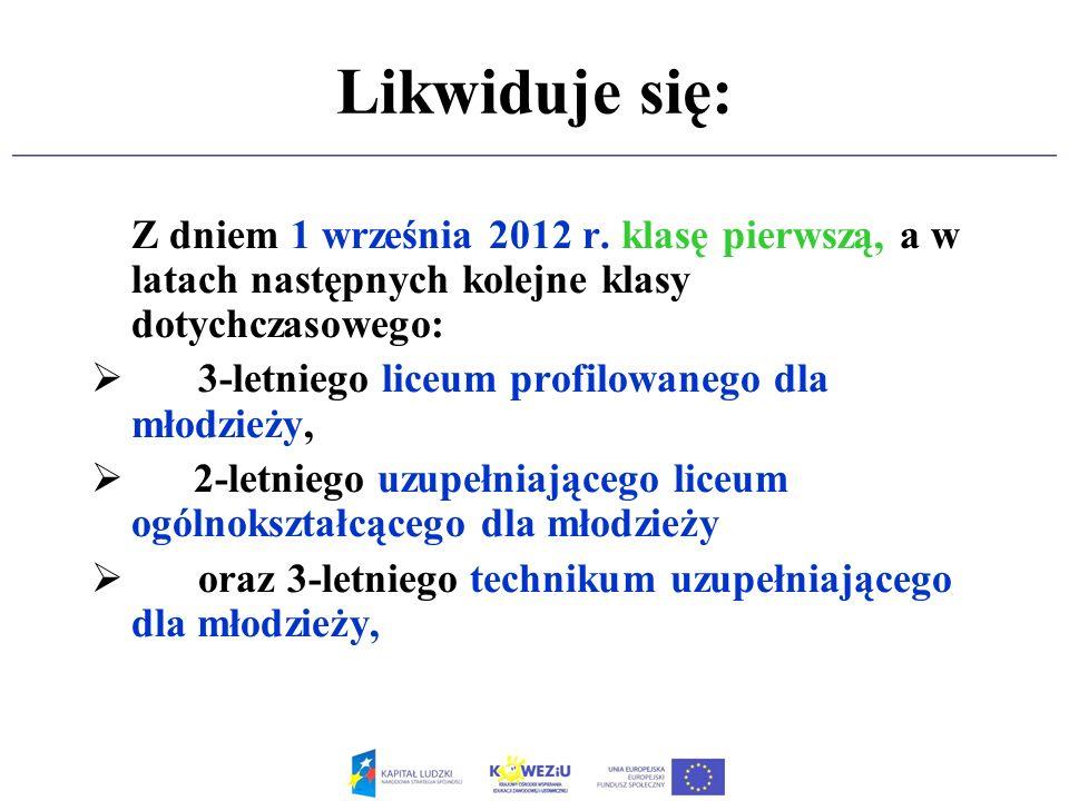 Likwiduje się: Z dniem 1 września 2012 r. klasę pierwszą, a w latach następnych kolejne klasy dotychczasowego: 3-letniego liceum profilowanego dla mło