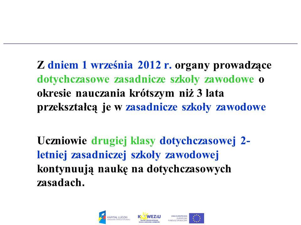 Z dniem 1 września 2012 r. organy prowadzące dotychczasowe zasadnicze szkoły zawodowe o okresie nauczania krótszym niż 3 lata przekształcą je w zasadn