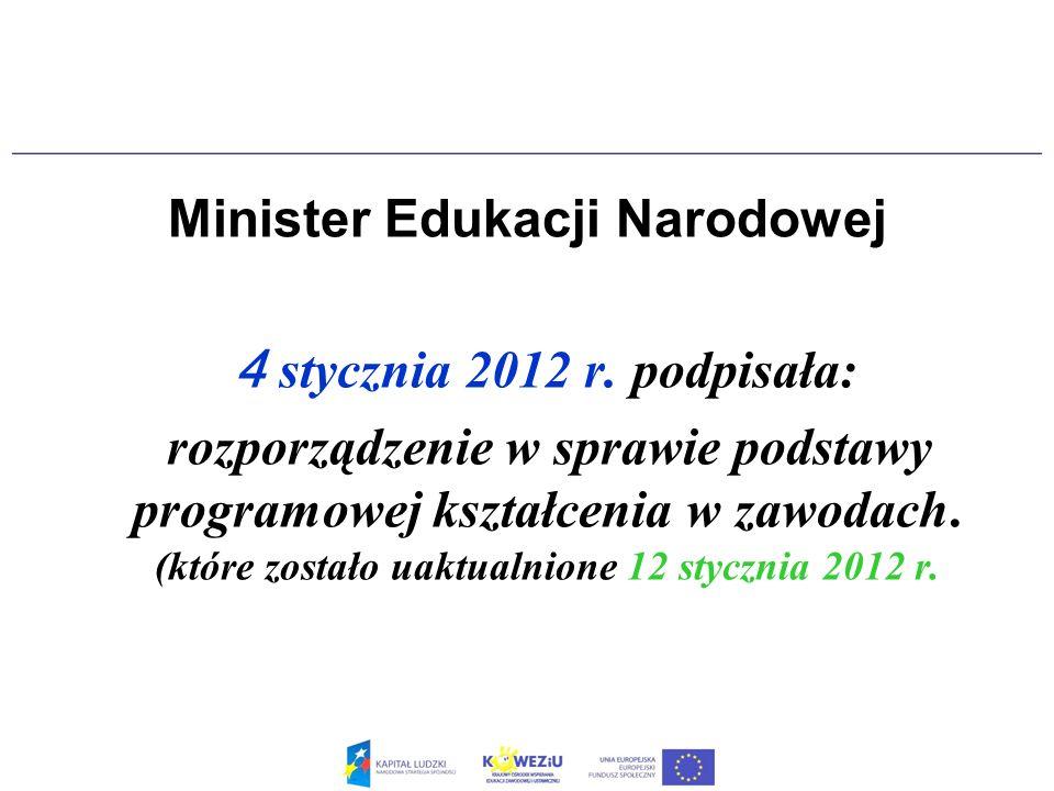 Minister Edukacji Narodowej 4 stycznia 2012 r. podpisała: rozporządzenie w sprawie podstawy programowej kształcenia w zawodach. (które zostało uaktual