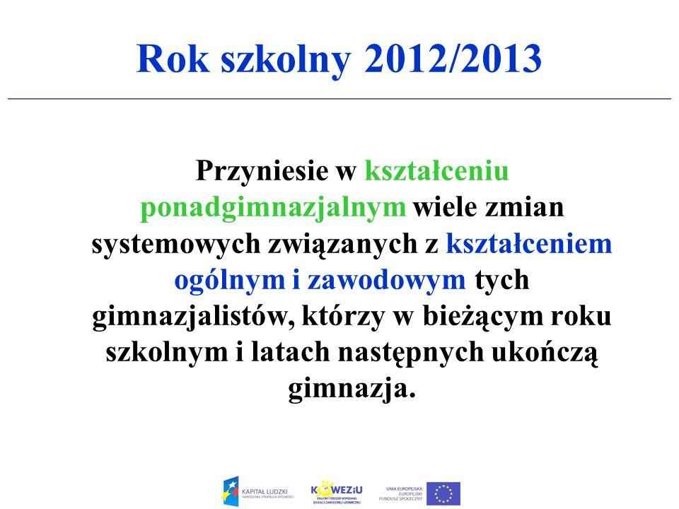 Rok szkolny 2012/2013 Przyniesie w kształceniu ponadgimnazjalnym wiele zmian systemowych związanych z kształceniem ogólnym i zawodowym tych gimnazjali