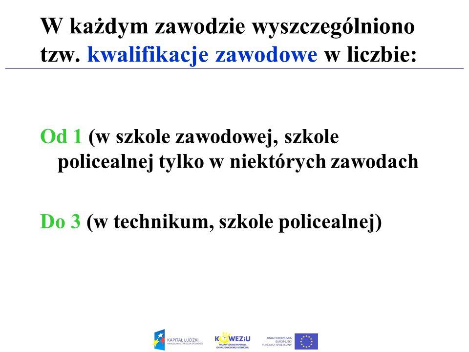 W każdym zawodzie wyszczególniono tzw. kwalifikacje zawodowe w liczbie: Od 1 (w szkole zawodowej, szkole policealnej tylko w niektórych zawodach Do 3