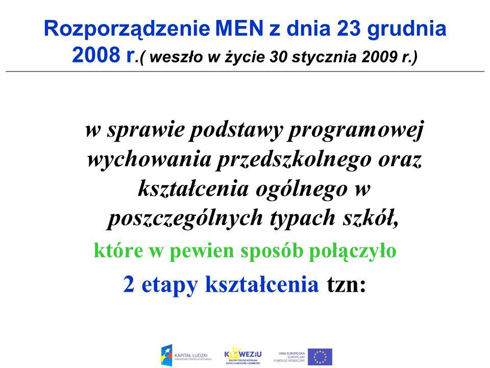Rozporządzenie MEN z dnia 23 grudnia 2008 r.( weszło w życie 30 stycznia 2009 r.) w sprawie podstawy programowej wychowania przedszkolnego oraz kształ