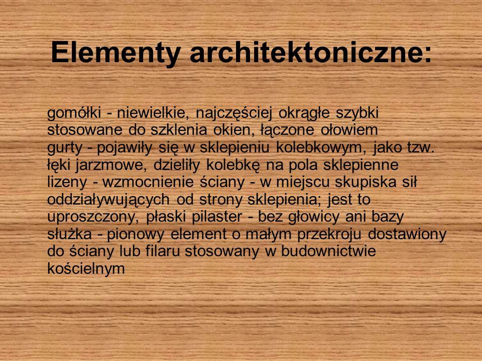Elementy architektoniczne: gomółki - niewielkie, najczęściej okrągłe szybki stosowane do szklenia okien, łączone ołowiem gurty - pojawiły się w sklepi