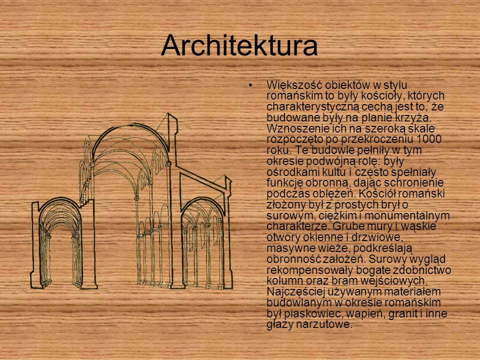 Architektura Większość obiektów w stylu romańskim to były kościoły, których charakterystyczną cechą jest to, że budowane były na planie krzyża. Wznosz