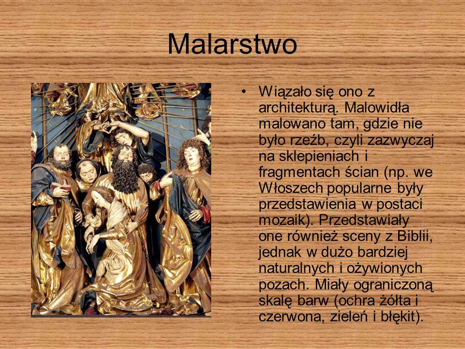 Malarstwo Wiązało się ono z architekturą. Malowidła malowano tam, gdzie nie było rzeźb, czyli zazwyczaj na sklepieniach i fragmentach ścian (np. we Wł