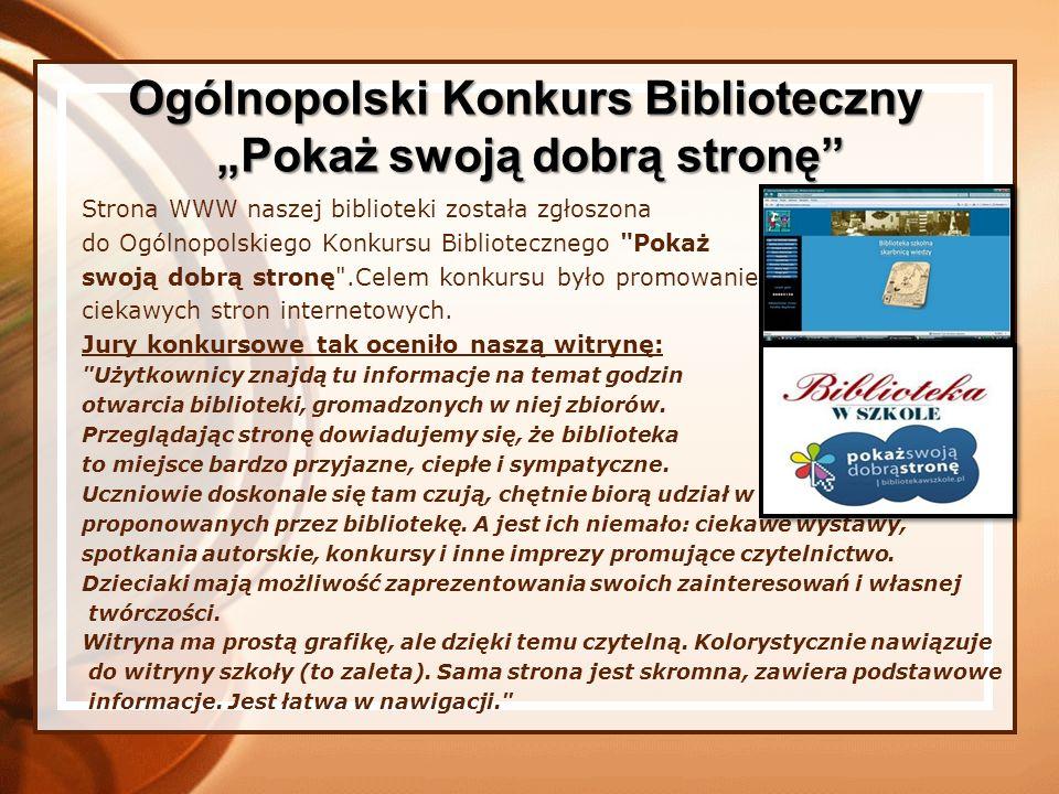 Strona WWW naszej biblioteki została zgłoszona do Ogólnopolskiego Konkursu Bibliotecznego