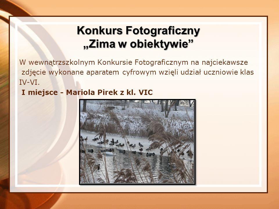W wewnątrzszkolnym Konkursie Fotograficznym na najciekawsze zdjęcie wykonane aparatem cyfrowym wzięli udział uczniowie klas IV-VI. I miejsce - Mariola